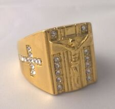 G-Filled 18k yellow gold Jesus Mens ring simulated diamond Cross Christ Crucifix