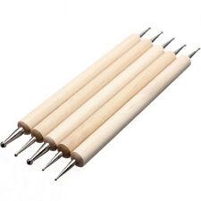 5Pcs/set 2 Way Wooden Dotting Pen Nail Art Dot Tool Manicure Painting Kit New