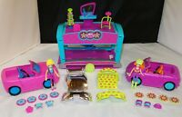 Polly Pocket Quik-Clik Car Cool Drive-Thru w/ 2 Cars & 2 Dolls and Accessories
