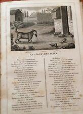 LA FONTAINE. LA LIGUE DES RATS. FABLE ET GRAVURE 1834