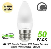 50 x 4W DIMMABLE LED Candle Light Globes Bulbs Warm White E27 Screw ES Pearl