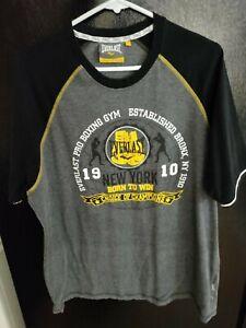 Men's Everlast Pro Boxing Gym Bronx NY Shirt, Black/Yellow, XL