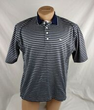 Nike Golf Men Polo Shirt Blue White Ribbed Size Large Casual Cotton