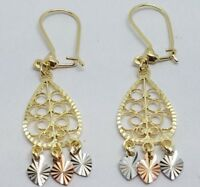 "GOLD 14k chandelier Tri yellow white rose Filigree Gypsy LONG DANGLE 1.70"" 2.5g"