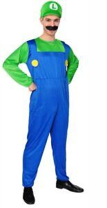 Luigi Costume Bros Jumpsuit Adult Fancy Dress Cosplay Book Week Dress Up
