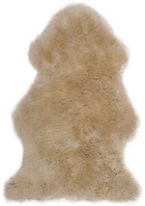 Luxury Genuine Sheepskin Fluffy Fur Rug Beige Lambland Single 100% Natural UK