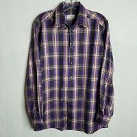 Eton Contemporary Fit Mens Plaid Button Front L/S Shirt Size Medium 15 3/4  H209