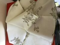White/cream linen tablecloth with hand embroidery