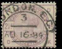 Used Great Britain 1883-1884 F Scott #101 2-1/2p Stamp
