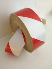 Hi-Vis Red/White Striped Adhesive Vehicle Reflective Caution Tape 50mm x 5m Roll