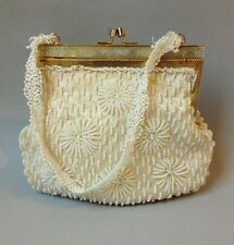 Winter White Beaded Purse Satin Evening Hand Bag Cream Gold Metal Frame Vintage