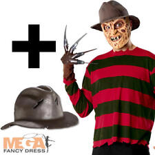 Freddy Krueger + Hat Mens Halloween Fancy Dress Horror Film Costume Adult Outfit