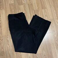 INC Womens Dress Pants Sz 14 Black Striped Trousers Side Zip Wide Leg UB14