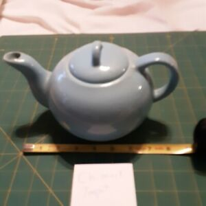 """Chimark Pottery Teapot Light Blue 5"""" Tall X 9"""" Wide Marked Chimark Taiwan"""