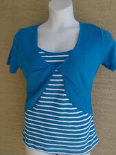 New Being Casual Cotton Knit S/STank & Twist Front  Shrug Twofer Top Blue L
