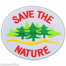 SAVE THE NATURE Tree Woodland Love Earth Ecology Save Energy Iron On Patch #0527
