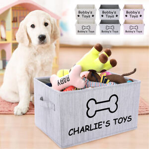 Personalized Dog Toy Storage Box Canvas Basket for Pet Cat Custom Print Name ID
