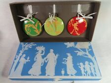 Vintage Wedgwood Christmas Toile Set Of 3 Ornaments