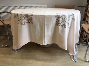 1930s Table Cover Cloth Throw Cotton & Silk Blend Embroidered Tassels Pink