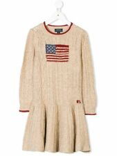 NEW RALPH LAUREN GIRLS US Flag Cable Knit Dress 5 Natural Beige