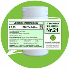 Schüßler-Salz Nr.21 Zincum chloratum D6 1000 Tabl. PZN 08003848