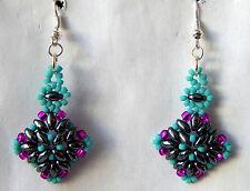 Aztec Inspired Hematite  Dangle Earrings Handmade. Slave Violet Jewelry