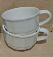 Pfaltzgraff Heritage Handled White Soup Bowls Set of 2 Chili Crocks