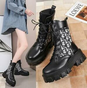 Occident Lady Casual Round Toes Platform Lace Up Winter Ankle Boots Shoes Pumps