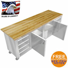 """Stainless Steel Island Maple Wood Top 30""""X96"""" 8 Drawers 2 Middle Doors Sheves"""