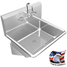 "HAND SINK MANUAL FAUCET 24"" SINGLE WALL MOUNT BSM STAINLESS STEEL NO DISPENSER"