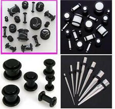 24pc Black White Plugs Stainless Steel Tapers 0G-14G Ear Stretching Kit gauges