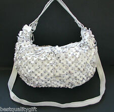 NEW HAND MADE WHITE LEATHER 3-D FLORAL CUT OUT+SILVER HOBO,PURSE,BAG+CROSSBODY