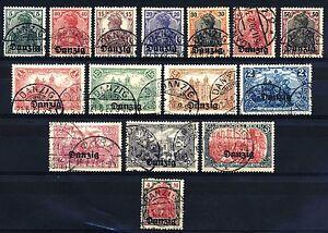 DANZICA - 1920 - Francobolli di Germania del 1905-16, sovrastampati