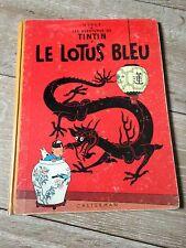 le lotus bleu B29 (1960-61) les aventures de Tintin côte dos jaune BDM + 65e