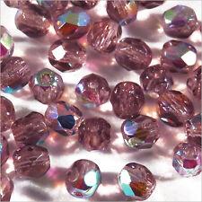 Lot de 50 Perles Facettes en Verre de Bohème 4mm Améthyste AB