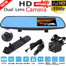 "4.3"" HD 1080P Dual Lens Car DVR Rearview Mirror Camera Video Recorder Dash Cam"