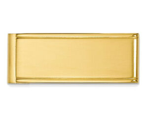 Mens Yellow Plated Stainless Steel Polished Money Clip