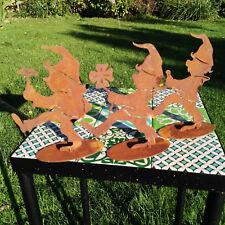 3 x Rost Zwerge Figur Gartendeko Garten Edelrost Metall Wichtel Troll Dekoration