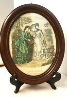 Antique Victorian La Mode Illustree Oval Wood Frame  17x12