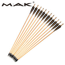 X6 Trad Wooden Arrows 85cm Turkey Feathers Iron Tips Fo Bow Archery Hunting
