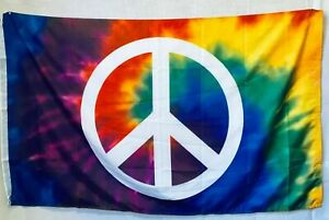 Tie Dye Peace Sign Rainbow Swirl Colors LGBT Good Vibes 3X5 Flag Rough Tex® 100D
