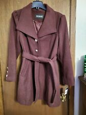 NWT Guess Womens XL Wine Coat Buttons and Tie
