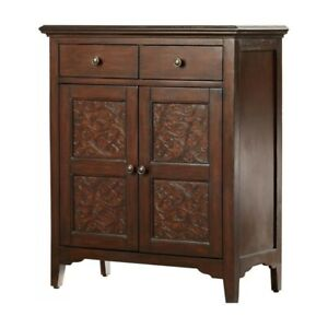 Made to Order Floral Hand Carved Solid wood Sideboard Chocolate Brown M