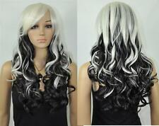 Cos black &white mix long curly cosplay full wig + gift