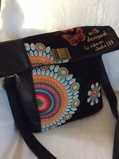 DESIGUAL Black FAUX Leather & Velvet Floral LARGE Boho MESSENGER Bag