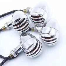 4x Chrome Motorcycle Bullet Turn Signal Light Blinker Amber Bulb Indicator Lamp