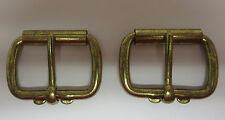 """PAIR BRASS PLATED """"WEIGHTLIFTER"""" BUCKLES FOR 1 1/2"""" STRAP"""