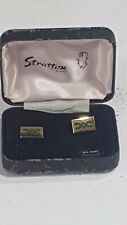 Stratton of London Cufflinks Boxed Enamelled Design Green on Gold No22