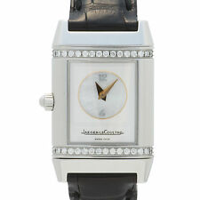 JAEGER LECOULTRE REVERSO DUETTO 266.8.44 WOMENS BOX & PAPERS DIAMONDS MOP STAINL