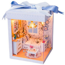 3D DIY Doll House Furniture Miniature LED Wooden Dollhouse Toy Kid Birthday Gift